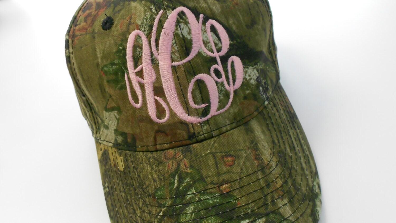 MOSSY OAK Camo Hat Monogram Font Shown MASTERCIRLE In Bubble