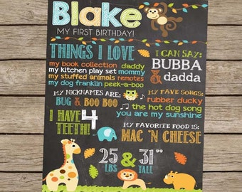 First Birthday Chalkboard Safari Zoo Animal Birthday Poster - DIGITAL PRINTABLE Zoo Animal Party Monkey Party First Birthday Boy Party Sign