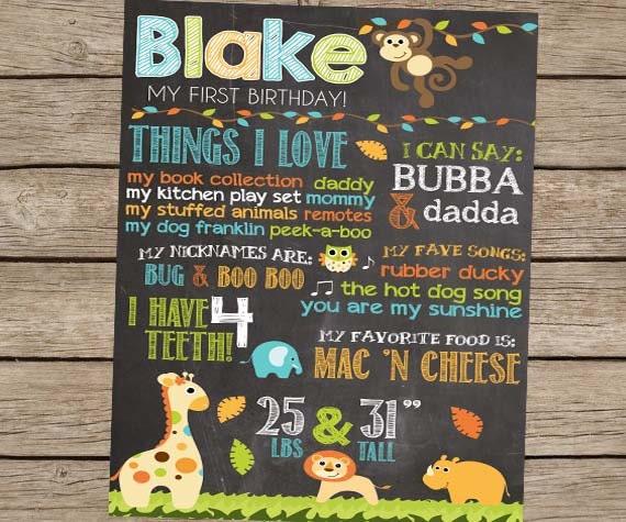 First Birthday Chalkboard Safari Zoo Animal By