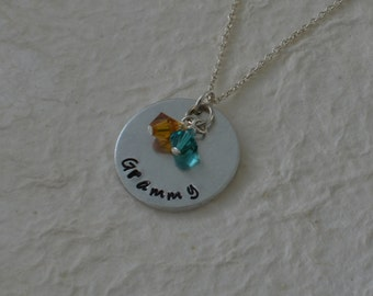 "Custom Hand Stamped ""Grammy"" Necklace / Swarovski Birthstone Crystals / Grandmother Necklace with Children's Birthstones / Grandma Pendant"