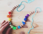 Teething mom rainbow necklace, valentines day Nursing necklace with Beadery Animals beads