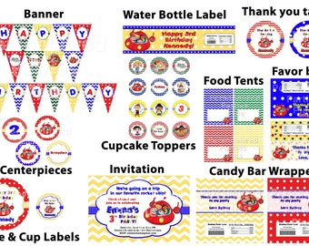 Make your own Little Einsteins birthday party pack: banner, cupcake toppers, water bottle labels, plates, cups, and more