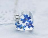 Real Forget Me Not Necklace Blue Heart Resin Pendant Love Romantic Gift Tiny Necklace Pressed Flowers