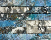 """Mixed Media Collage Art, Two Paintings with Hand Colored Rice Paper Mounted on Cradle Board,  Diptych,  by Sarah Ettinger, 32 x 16"""""""