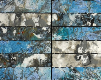 Mixed Media Collage Art, Two Paintings with Hand Colored Rice Paper Mounted on Cradle Board,  Diptych,  by Sarah Ettinger, 32 x 16""