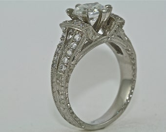 14kt White Gold and Diamond Art Deco Design Hand Engraved Engagement Ring with 1.10ct Moissanite Center