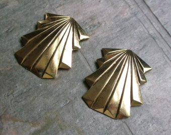 CLEARANCE pkg of (4) - 40x32mm Antiqued Gold Plated Art Deco Stampings