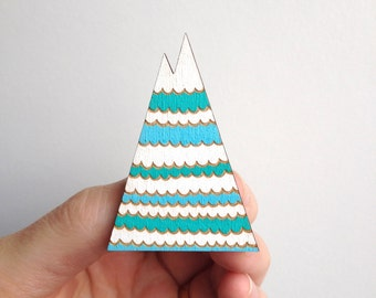 SALE / Graphic mountain inspired pin / Triangle brooch / waves pattern / Aqua, blue and white / Handmade wooden brooch / Christmas