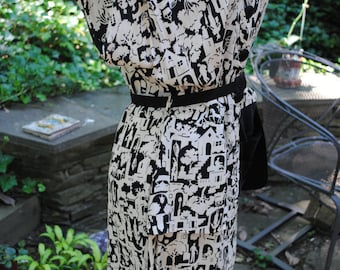 40's Black and White Silk  Dress  Swing WWII Movie Dress Old Hollywood  Size 8-10
