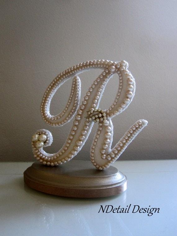 Vintage Monogram Wedding Cake Toppers Wedding Cake Topper Mo...