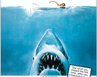 "JAWS ""RE-RELEASE"" Movie Reproduction Counter Top Stand-Up Display - Collectibles Collection Collector Memorabilia Gift Idea Retro Suspense"