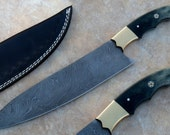 Chef Knife Damascus Custom Handmade- 12.50 Inches Color Camel Bone Handle Kitchen Knife - Great quality at Discount Price - Twisted Pattern