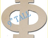 Wood Greek Letter Phi  9 inches for Sorority Crafts MDF unfinished fun, funky font, custom designed for Greek Crafting