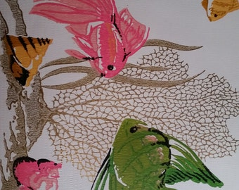 Vintage 1960s Gold Foiled Fish Wallpaper | Pink, Green, Coral | Background | Retro | Mid Century | Ocean, Sea