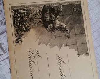 3 Gorgeous Unused 100 Year Old Antique Checks Bird and Roses