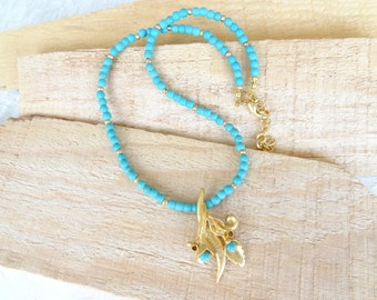 Turquoise Necklace,  Flower Pendant, Gold Necklace, OOAK Feminine Handmade Necklace