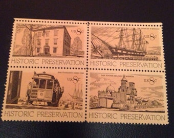 US Historic Preservation Block Set 1971 Mint Condition MNH Usable as Postage// Vintage Sepia Tones and Lines//Great for DIY Art or Jewelry