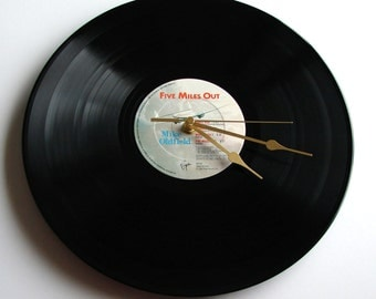 """MIKE OLDFIELD Vinyl Record Clock made from recycled 12"""" LP """"Five Miles Out"""" Great gift for men pilot plane spotters aeroplane pan am retro"""