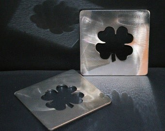 4-Leaf Clover Coasters Set of 4, Metal Shamrock Coasters, St. Partrick's Day, Urban Home Decor- additional colors available