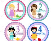 Girl Monthly Baby Stickers, 1 to 12 Months, Monthly Bodysuit Stickers, Baby Age Stickers, Princesses