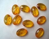 Oval Faceted Bead, 10 Orange Faceted Flat Oval Beads, 13mm x 19mm, Translucent Bead, Chunky Bead, Bubblegum Bead, Acrylic Bead