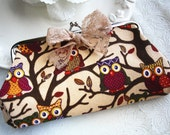sale: Cute owl flower clutch cottage chic chiffon natural bird purse cosmetic bag woodland girl accessory multi purpose coin bag wallet