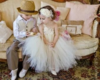 Ivory Vintage flower girl tutu dress, Ivory Flower girl dress, Flower girl tulle dress