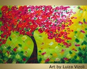 Original Painting Canvas Red Tree Summer Wall Decor Original Painting on Canvas Acrylic Artwork