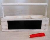 White Shabby Chic Wood Caddy W/ Handle and Chalkboard W/ Chalk Holder for Filofax Goodies, Artist, Mason Jars, Home Decor, Wedding, Parties