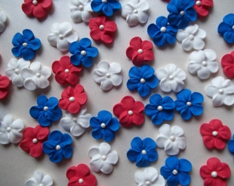 Red, white and blue royal icing flowers --- Fourth of July -- Cake decorations cupcake toppers edible (24 pieces)