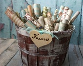 Wedding-basket-distressed-bucket-favors-flower girl-programs-advice-holder-card holder-card box-card basket-shabby-wedding-beach-rustic