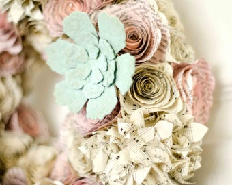 Succulent, Rose, Hydrangea 11 inch Spring Wreath & Centerpiece - Upcycled Shabby Chic Home Decor - Jane Austen and Vintage Hymnals