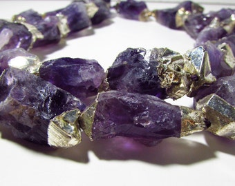 Purple Amethyst Sterling Silver Electroplated Oval Nugget Beads 23mm to 34mm
