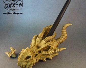 Dragon Skull Stylus holder / Sculpture - Light horn