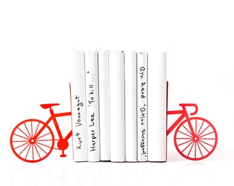Bicycle Bookends Laser Cut Red Metal Bike Bookshelf Mod and Fun Decor // Free Shipping Worldwide