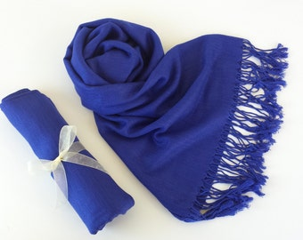 ROYAL BLUE Pashmina. Cobalt Blue pashmina. Blue Pashmina Scarf. Wedding Shawl.