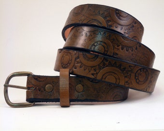 Tooled Leather Belt  - Custom Size - Steampunk Gear  design - Unique and Nontraditional