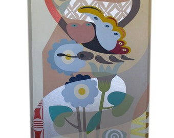 Original Acrylic Butterfly Painting on Canvas, Pop Art Cubism Butterfly Art on Canvas,  Large Heart Painting