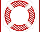 Nautical Life Preserver Ring DIY Applique Design For Embroidery Machines- Instant Download
