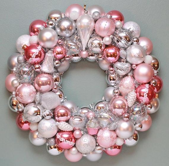 Pink Christmas Ornament Wreath