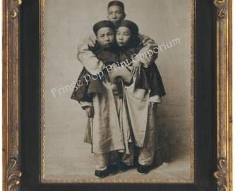 Victorian Sideshow Circus Freak Art Print 8 x 10 - Korean Siamese Twins - Conjoined