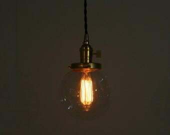 "6"" Clear Glass Globe Pendant Light -  Hanging Pendant - Vintage Style Cloth Cord"