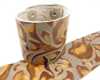 "Grey Copper Floral Leather Cuff Bracelet 2"" Wide, #57-85231615"