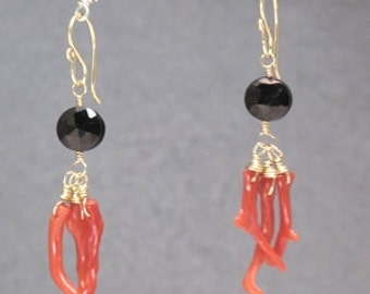 Black Spinel red branch coral earrings Modglam 183