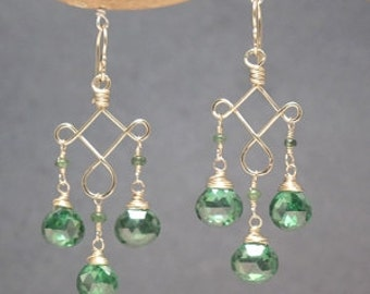 Emerald Green CZ on hammered Gypsy Earrings Gypsy 87