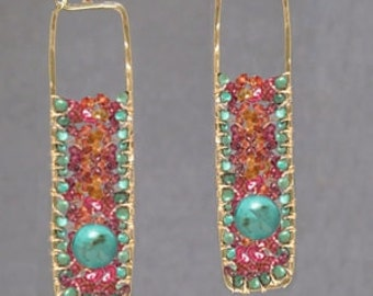 Drop Earrings with turquoise, pink ruby, mandarin garnet, Bohemian 165