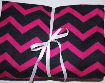 Pack n Play Sheet - Fitted Cotton Flannel Playard Sheet for Baby or Toddler - Chevron Hot Pink Black