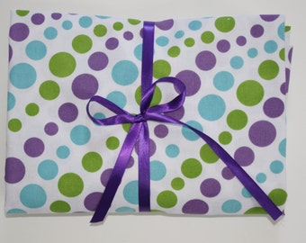 Pack n Play Sheet - Purple, Aqua, Green Polka Dots- Fitted Cotton Playard Crib Sheet for Baby or Toddler
