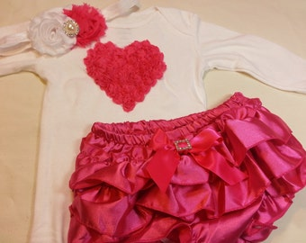 Hot Pink Valentine's Day Outfit, Baby Valentines Outfit, Hot Pink Heart Onesie, Hot Pink Diaper Cover, Shabby Flower Headband, Baby clothes