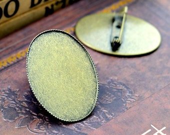 Brooch Base 5pcs 30x40mm Antique Bronze Brooch Cameo Base Setting